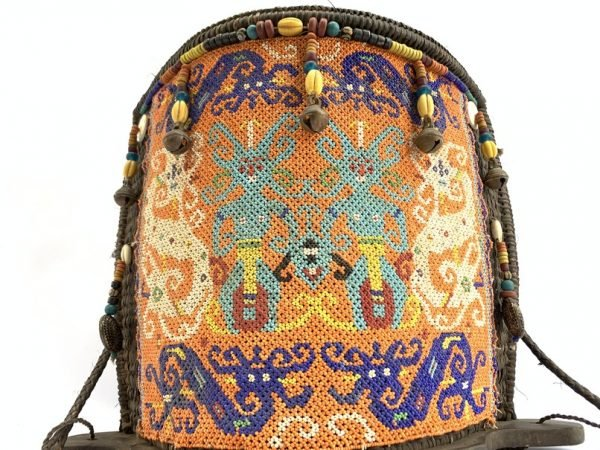 BORNEO CARRIER 430mm Traditional Tribal Child Backpack Baby Infant Bag Beads