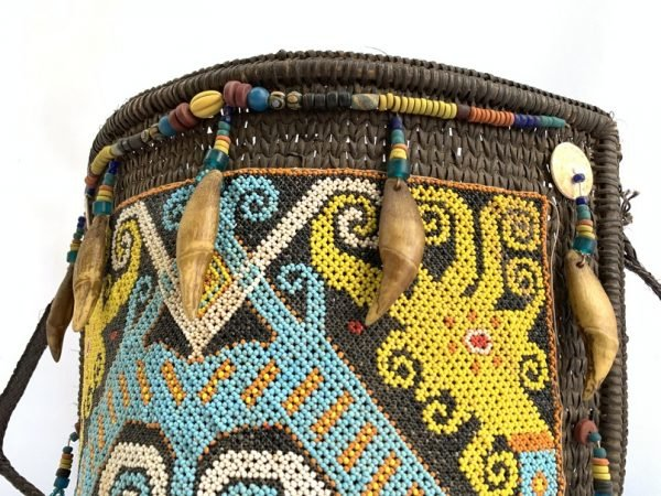 BEADED PANEL CARRIER 420mm Traditional Baby Backpack Child Infant Bag Tribal Borneo