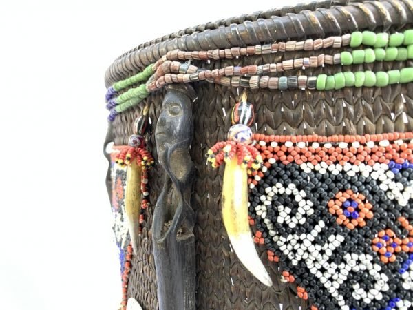 CHILD CARRIER 450mm Borneo Baby Backpack Bag Staff Ritual Pole Beads & Figurine Traditional Asia