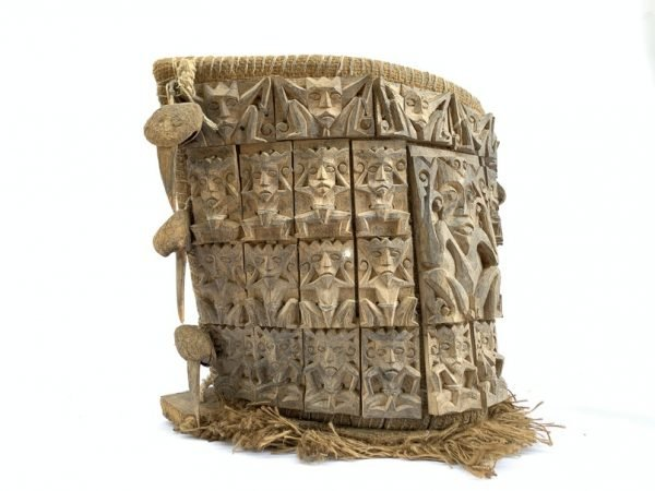 DAYAK CARRIER 390mm Dyak Modang Tribal Borneo Backpack Baby Child Infant Basket Artifact Statue Figure