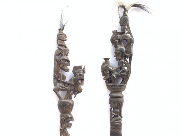 RITUAL STAFF Tunggal Panaluan (One Pair) Batak Stick Ceremonial Pole Statue Sculpture Figurine