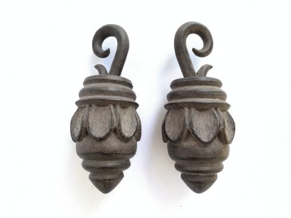WOODEN EARRING 100mm GIANT Tribal Ear Weight Extreme Body Piercing Borneo