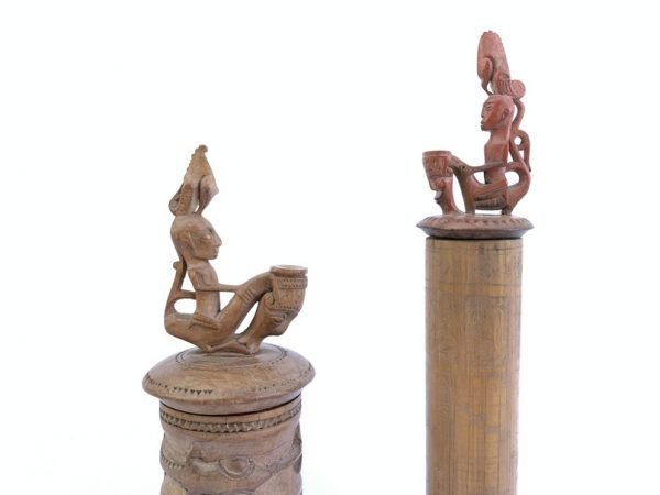 BATAK ARTIFACT SIMALUNGUN (One Pair) BAMBOO BOX Tribal Container Statue Figurine Indonesia Craft