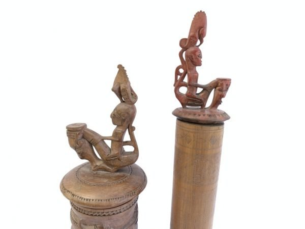 BATAK ARTIFACT SIMALUNGUN (One Pair) BAMBOO BOX Tribal Container Statue Figurine Indonesia Craft