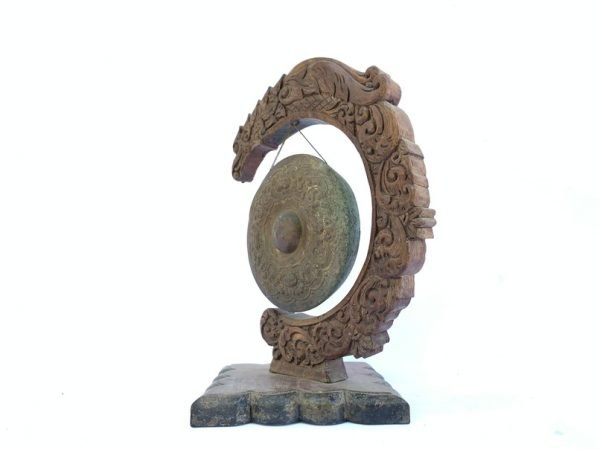 GONG AND STAND Set 340mm Tall Brass Bronze Musical Instrument Gamelan Balinese Indonesia