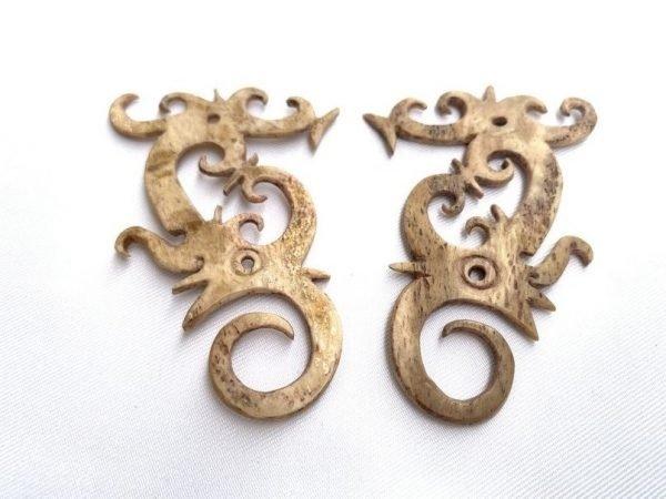 BORNEO BONE EARRING (1 pair) Authentic Tribal Ear weight Jewelry Dayak Dyak Tattoo Body Piercing