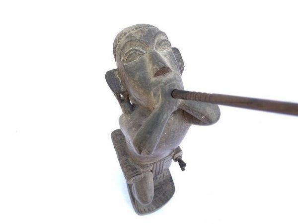 BORNEO TRIBE 495mm DAYAK Illusive Headhunter People Blowpipe Sword Antique Figure Figurine Statue