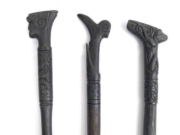 CEREMONIAL POLE (680-760mm) THREE Ritual Stick Cane Totem Statue Tuntun Tribal Borneo