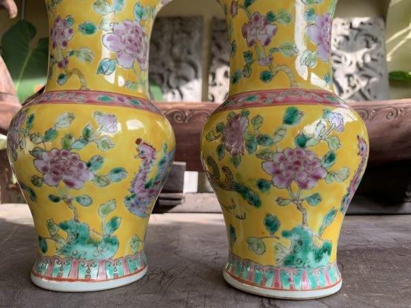 PERANAKAN SPITTOON 220mm (One Pair) Baba Nyonya Vase Pot Pottery Jar Ceramic Porcelain
