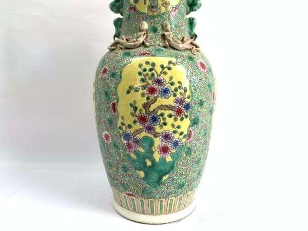 PERANAKAN POT 420mm GREEN VASE Baba Nyonya Nyonyaware Ceramic Porcelaine Old Pottery