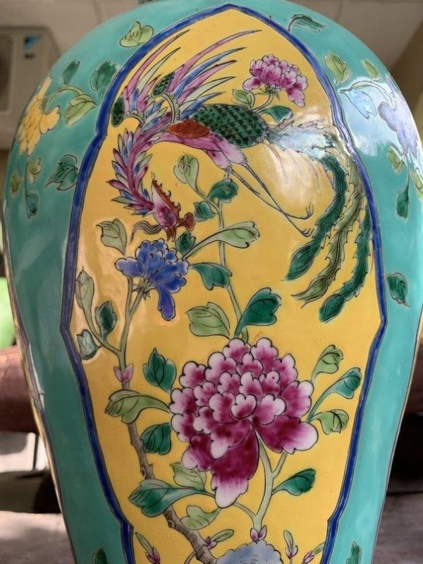NYONYA POT 450mm GREEN GLAZED Gourd Vase Phoenix Feng Shui Chinese Porcelain Home Deco