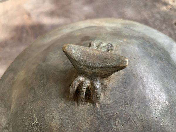 NYONYA COVERED JAR 170mm Brass Bronze Kamcheng Rare Pot Pottery Vase Peranakan Chinese