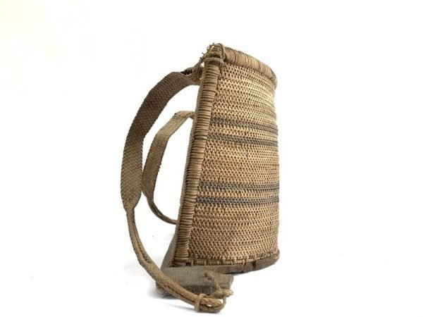 BORNEO CHILD CARRIER 350mm Old Traditional Baby Backpack Rattan Weaving Fiber Art