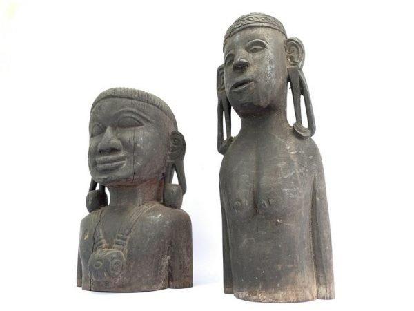 HALF BODY STATUE (235mm & 300mm) ONE PAIR Couple Antique Borneo Naked Dayak  Warrior Sculpture