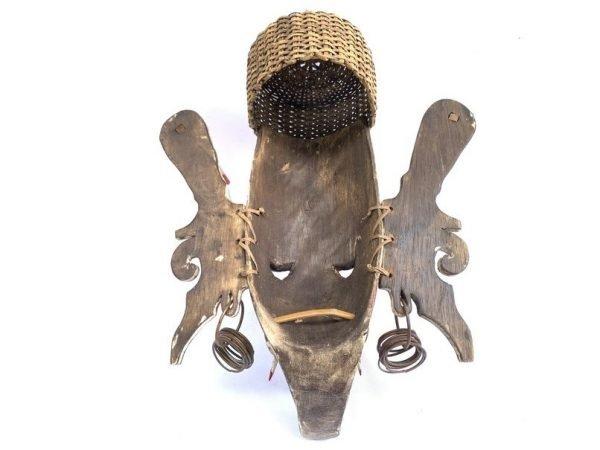 BORNEO DANCING MASK 420mm Rare Ritual Hudog Bahau Masque Antique Earring Basket Statue Figurine Wall Deco
