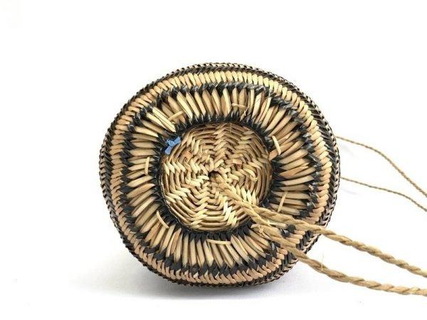 BORNEO FIBER ART 350mm Ajat (Rice Grass Pattern) Weaving Basket Bag Backpack Tribal Carrier #7